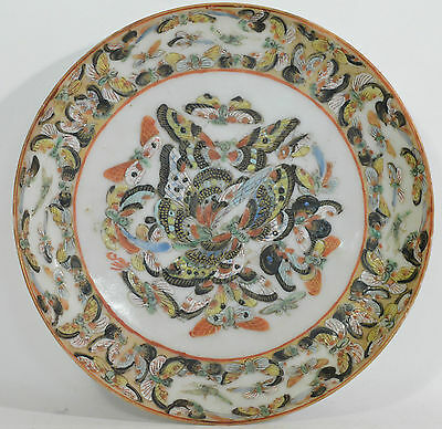 A perfect 19th Century Chinese hand decorated butterfly porcelain plate/dish
