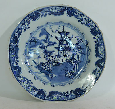 A 19th Century Chinese blue and white porcelain plate pagoda