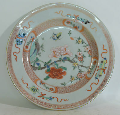 An 18th Century Chinese enamel decorated plate butterflies