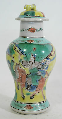 A C. 1900 Chinese enamel decorated vase warriors