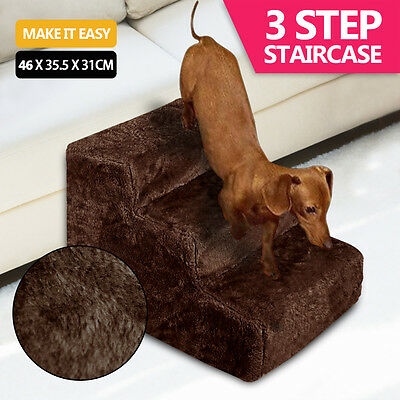 PaWz Pet Soft Plush Steps Ladder Dog Cat Washable Cover Portable Stairs Ramp