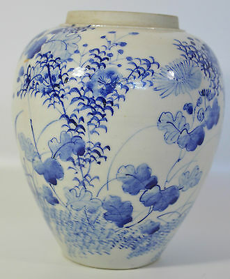 A perfect 19th C Japanese Meiji period blue and white Seto porcelain vase birds