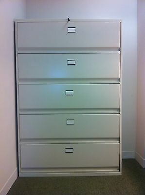 5-Drawer Lateral, Legal, Letter Steel Tan File Cabinet .