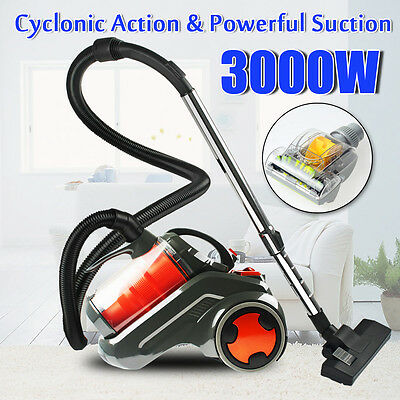 3000W Bagless Cyclonic Vacuum Cleaner Filtration System Floor Turbo Brush Head