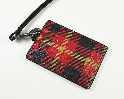 Coach Lanyard ID case IN RILEY PLAID PRINT COATED CANVAS F55992 NWT Red