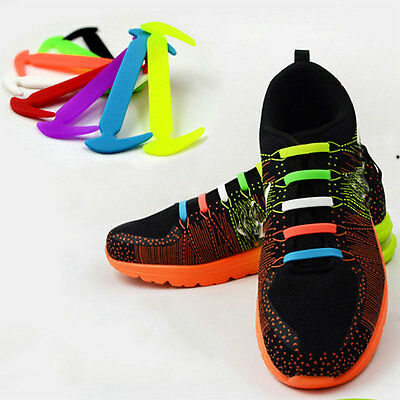 Simple No Tie Elastic Silicone Shoe Laces For Adults&Kids Trainers Shoes Canvas