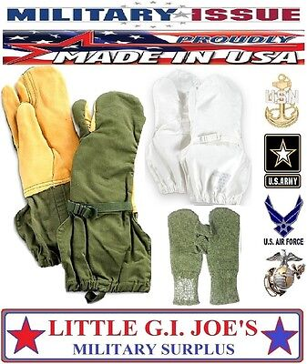 ARCTIC Olive Drab Trigger Finger Mittens, Liners, Covers, Military Issue MED