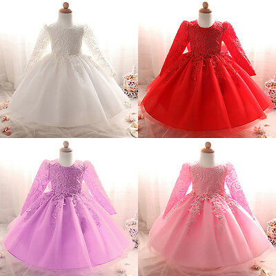 0-24 Months Baby Girl Dress Lace Flower Girls Wedding Party Long Sleeve Gown