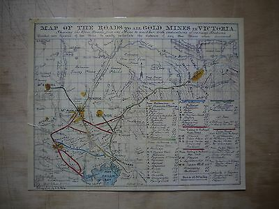 1853 J.B.Phillip 'MAP OF THE ROADS TO ALL GOLD MINES IN VICTORIA' Reproduction