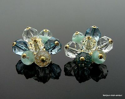 RIESIG! 60s Givre Kristall und Lucite facettierte Cluster edel Ohrclips Ohrringe