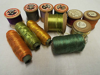 Job lot of 12 Vintage Threads inc Silko Dewhurst Wooden and Silks