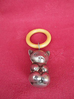 Antique Edwardian Teddy Bear Baby Rattle Teether Circa 1910