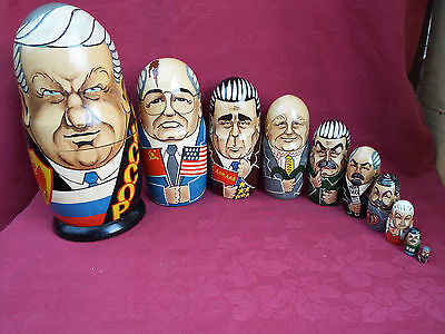 Rare Hand Painted Vintage Russian Leaders Stacking Dolls x 10 Matryoshka