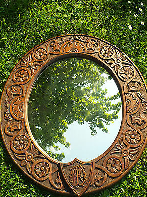 Victorian Arts & Crafts Antique Carved Oak Oval Wall Hall  Mirror Circa 1880