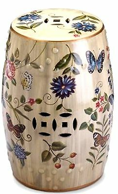 Butterfly Garden Ceramic Stool, Seat Chair Plant Or Sculpture Stand ** Nib
