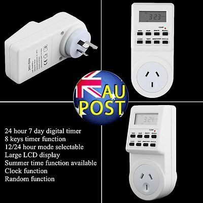 2PCS 7 Day Digital Electronic LCD Plug-in 12/24 Hour Timer Switch AU Plug Socket