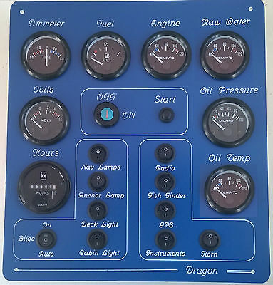 Boat instrument panel 10 switches 12 volt with USB & Voltmeter 6 fuse