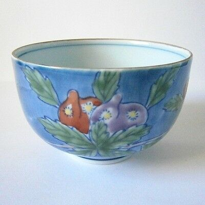 PRETTY LITTLE BLUE CHINESE / JAPANESE PORCELAIN BOWL with FRUIT & FLOWERS