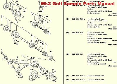 VW MK2 GOLF GL GTI 8v 16v 1.3 1.6 1.8 SERVICE MOD WORKSHOP EXPLODED PARTS MANUAL