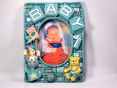 Baby Blue Bear and Train Picture frame