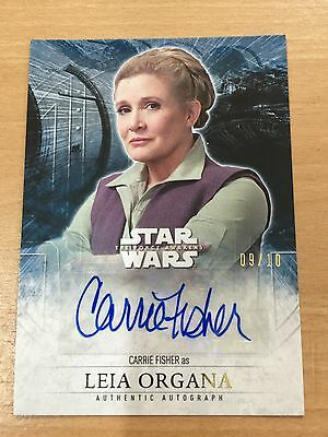 Star Wars Carrie Fisher Autograph Card Leia Organa 09/10 Force Awakens Series 2