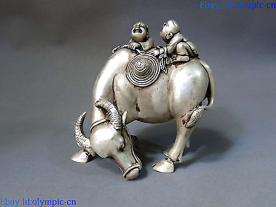 China Silver carved Feng Shui lucky two boy ride a Ox Cattle sculpture Statue