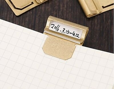 6 PCS Vintage Brass Index Label Bookmarks Clips For Travelers Journal Note Book