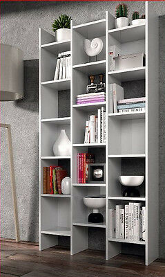 Naples Bookcase White Soft Gloss Bookshelf Lounge And Dining shelving 2601