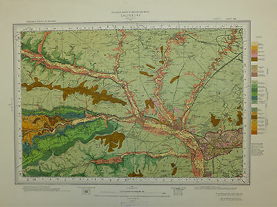 Attractive Wiltshire map, Salisbury, Geological Survey map, First Surveyed 1870