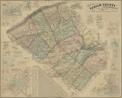 1862 Map of Lehigh County PA from original surveys Allentown