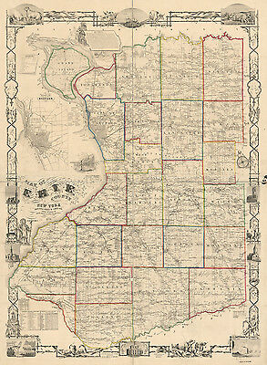 1854 Farm Line Map of Erie County NY from actual surveys Buffalo
