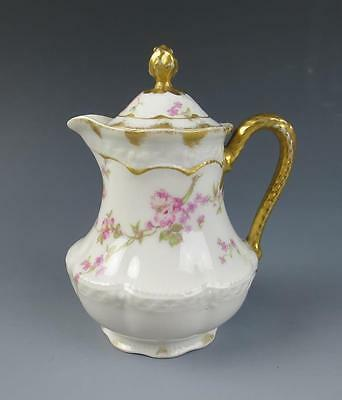 RARE HAVILAND Limoges Child's Chocolate Pot Pink Roses Porcelain Bow Double Gold