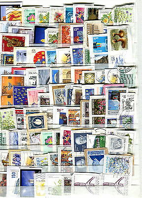 Iceland Fine Lot of 100 Old and New Stamps on Paper Kiloware