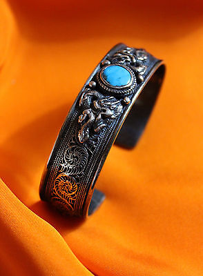 ANTIQUE ASIAN HIMALAYAN SILVER and TURQUOISE BRACELET