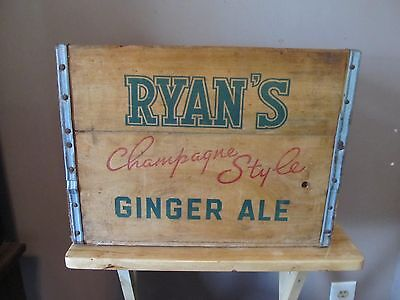 Vintage Johnnie Ryan Ginger Ale Wooden Bottle Crate~c.1940's/50's~Very Good Cond