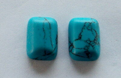2 Cabochons Turquoise de synthèse, 18x13x5 mm