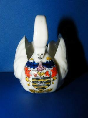 Antique Crested China Swan  ~  Blackpool
