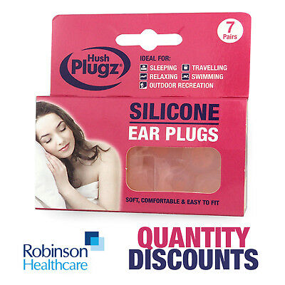 Hush Plugz Ear Plugs Genuine Soft Silicone Mouldable Earplugs Multi Buy Discount