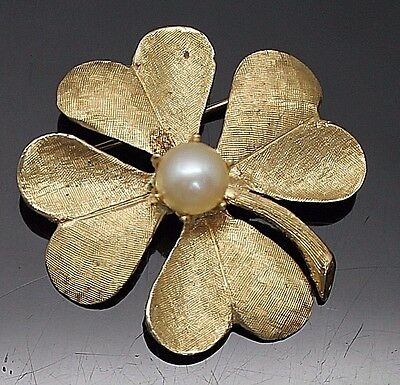 Vintage Genuine Pearl Satin Finish 4 Leaves Clover Solid 14K Yellow Gold Brooch