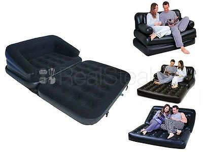 5 In 1 Inflatable Double Sofa Couch Bed Mattress Lounger Airbed Bed Camping