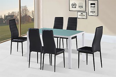 Dining Table Set With White Glass Top & 6 Faux Leather Chairs home restaurants