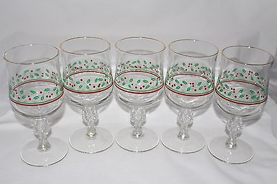 Set Of 5 Arby's Holly & Berries and Bows Ties Stemmed Goblets Christmas Glasses