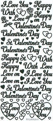 Happy Valentine's Day Love Peel Off Stickers Black Gold Red Silver Card Making
