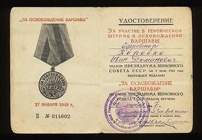 USSR Soviet Document for medal - For the liberation of Warsaw , Original