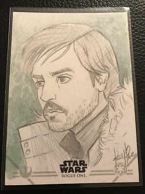 Star Wars Rogue One Series 1 Sketch Card By Rey Paez (Great Sketch)
