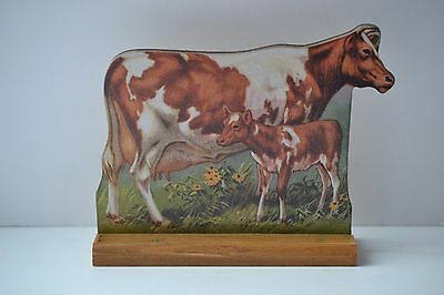 VINTAGE LOOK Stand-Up Barnyard Farm Animal Guernsey Cow and Calf NWT