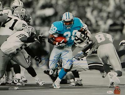 Barry Sanders Autographed Lions 16x20 B&W Color Running PF. Photo- JSA W Auth