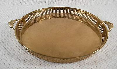 "Round 10"" Brass Vanity / Serving Tray w/ Floral Handles & Punched Sides"