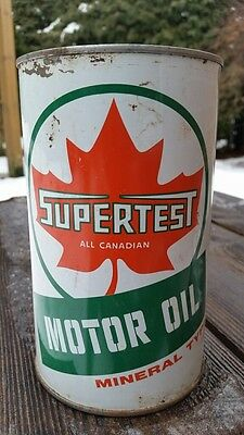 """Supertest Mineral Type Motor Oil Imperial Quart Tin Can """"All Canadian"""""""