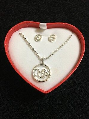 Guess Women's Sparkle Necklace And Ear Studs Gift Set G Girls Silver Coloured